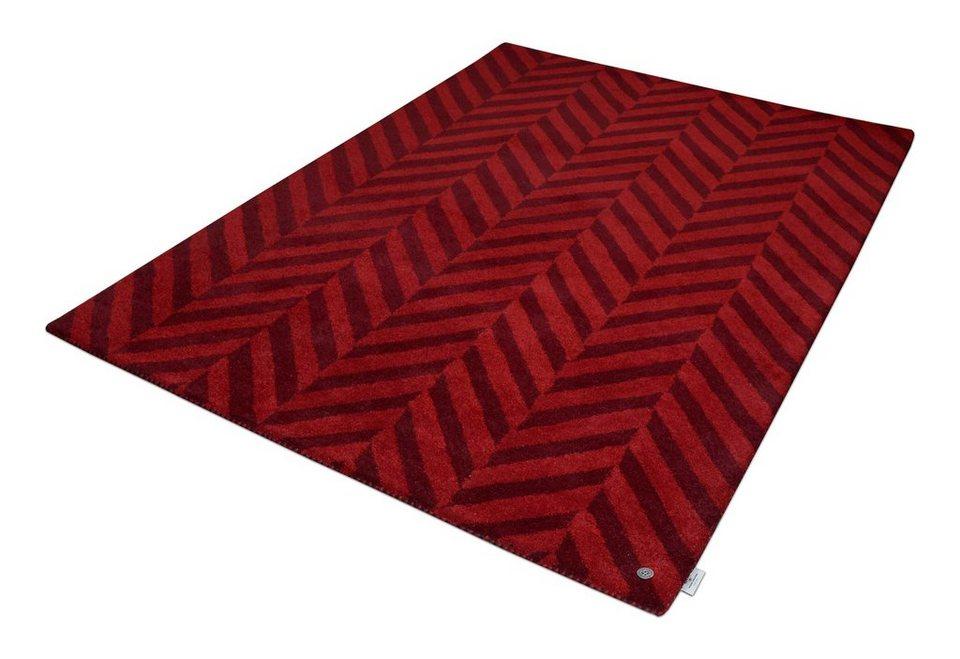 Teppich, Tom Tailor, »Zigzag«, Melange-Effekt, handgetuftet, reine Schurwolle in rot