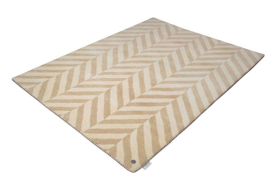 Teppich, Tom Tailor, »Zigzag«, Melange-Effekt, handgetuftet, reine Schurwolle in beige