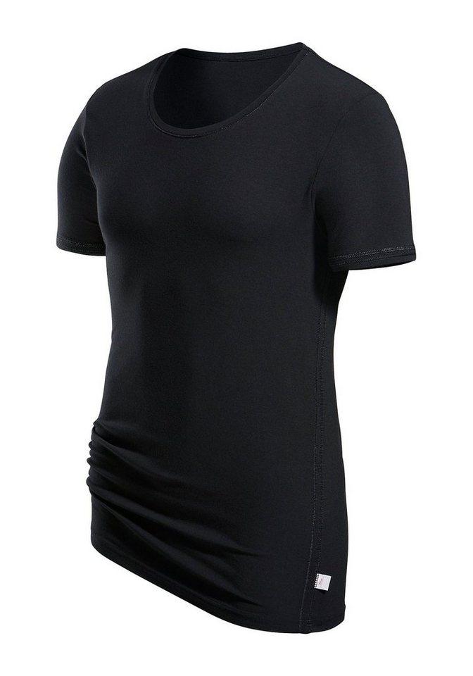 T-Shirt s.Oliver RED LABEL Bodywear Markenwäsche in perfekter Passform glänzende Ziernähte in schwarz