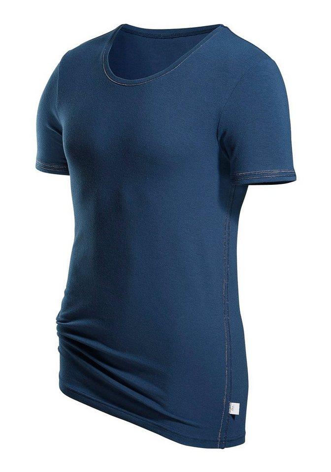 T-Shirt s.Oliver RED LABEL Bodywear Markenwäsche in perfekter Passform glänzende Ziernähte in blau