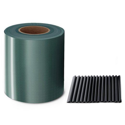 Midori Sichtschutzstreifen, (Packung, 1 Rolle PVC - Sichtschutz = 6,65 m² + 30 Befestigungsclips), Sichtschutzstreifen Zaunblende 35 m Rolle 19 cm PVC Zaunfolie Windschutz Doppelstabmatten Grün