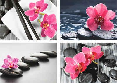 Artland Poster »Asiatische Komposition Orchidee Zen«, Zen (4 Stück), Poster, Wandbild, Bild, Wandposter