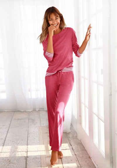 Arizona Pyjama mit gestreiften Bündchen