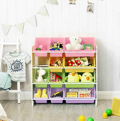 SONGMICS Aufbewahrungsbox »GKR04W GKR04KL«, Kinderzimmerregal, Spielzeug-Organizer, Schule, Kindergarten, Weiß