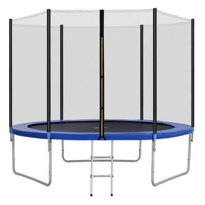 Flieks Gartentrampolin, Ø 305,00 cm, Outdoor-Trampolin mit Sicherheitsnetz und Leiter, 10 FT Gartentrampolin, tragend 150 kg