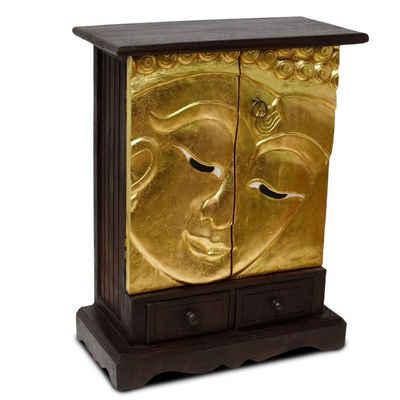 Oriental Galerie Mehrzweckschrank »Schrank Gesicht Buddha mit Schubladen Gold 70 cm« (1-St) Handarbeit