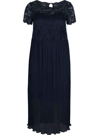 Zizzi Abendkleid Große Größen Damen Kurzarm Maxikleid mit Plissee und Spitze