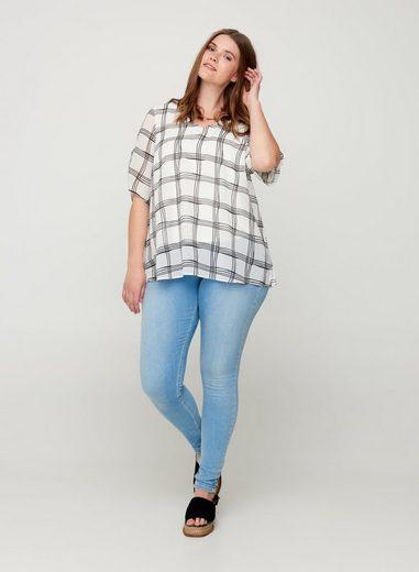 Zizzi Kurzarmbluse Große Größen Damen Karierte Kurzarm Bluse mit V-Ausschnitt und lockerer Passform