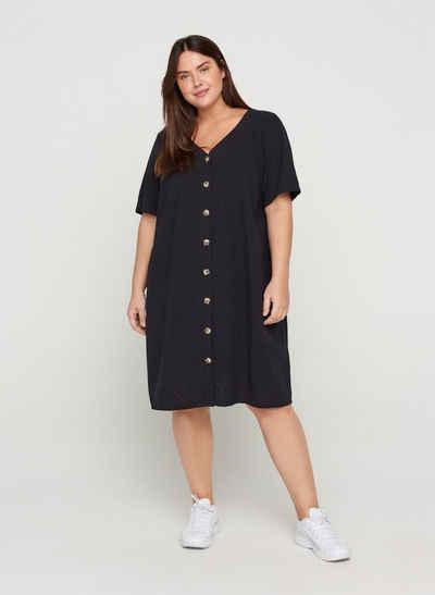 Zizzi Sommerkleid Große Größen Damen Kurzarm Kleid aus Baumwolle mit Knöpfen