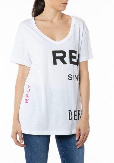 Replay T-Shirt mit tonigen Markendrucken und Neonprint