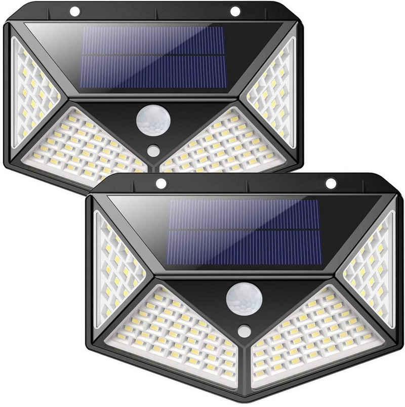 Oneid LED Solarleuchte »Oneid Außen-Wandleuchte, LED Solar Außenleuchte, [2 Stück] 100/206 LED Solarlampe, Induktiv Solarleuchte, wasserdichte, für GartenStraßeGartenbeleuchtung«