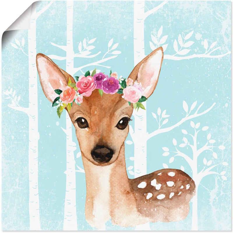 Artland Wandbild »Wild Reh mit Blumen im blauen Wald«, Tiere (1 Stück), in vielen Größen & Produktarten - Alubild / Outdoorbild für den Außenbereich, Leinwandbild, Poster, Wandaufkleber / Wandtattoo auch für Badezimmer geeignet