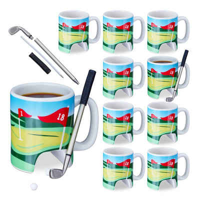 relaxdays Tasse »10 x Golftasse mit Schläger«, Keramik