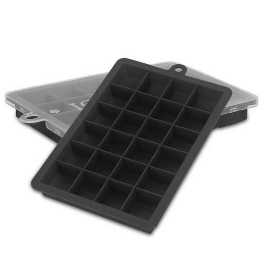 Intirilife Eiswürfelform, (2-tlg), 2x Eiswürfelformen in SCHWARZ - 2er Set à 24 Fächer Eiswürfel Silikonformen mit Deckel