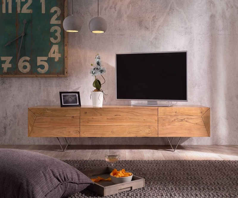 DELIFE TV-Board »Wyatt«, Akazie Natur 175 cm 1 Klappe 2 Türen Designer Lowboard