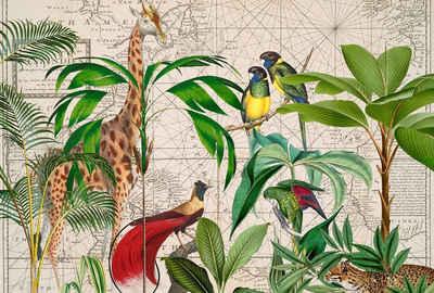 living walls Fototapete »ARTist Palm Tree Map«, (Set, 4 St), Dschungel Giraffe, Vlies, glatt