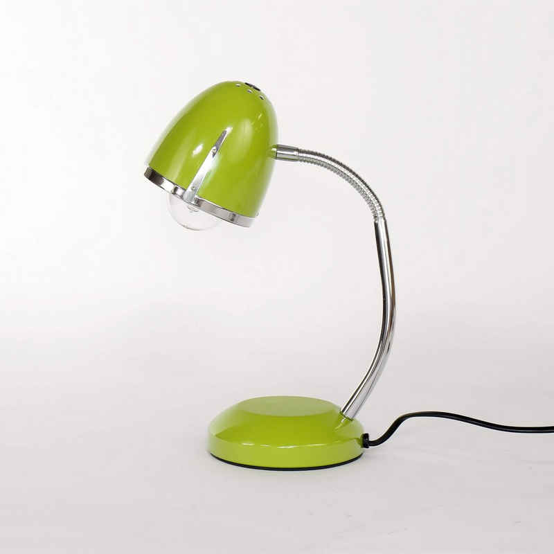 Licht-Erlebnisse Schreibtischlampe »POCATELLO«, Schreibtischleuchte Grün Metall Retro 36cm hoch E27 Büro