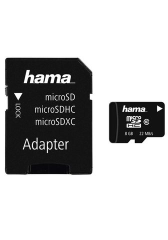 HAMA MicroSDHC 8GB Class 10 22MB/s + Adapte...