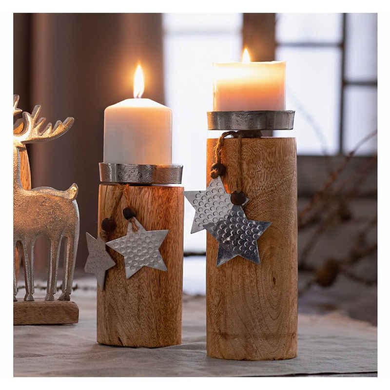 Home-trends24.de Kerzenhalter »Kerzenhalter Sterne 2x Beleuchtung Deko Säule Winter Ständer Leuchter Mangoholz Set«