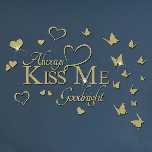 "Masbekte Wandtattoo, 3D ""Kiss Me"", Acryl Spiegel, Wandaufkleber, Wohnzimmer, Selbstklebend"