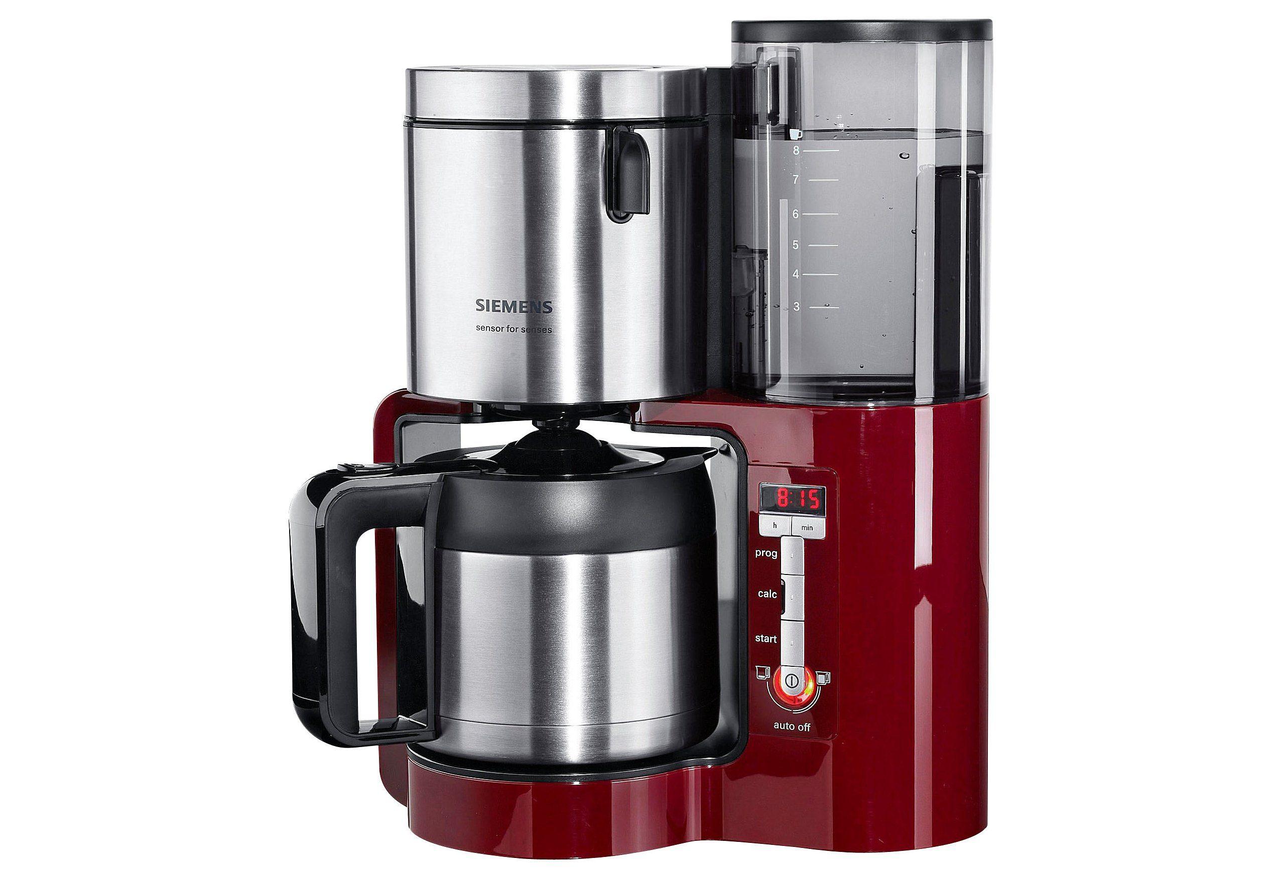 SIEMENS Filterkaffeemaschine TC86504 Sensor for Senses, 1,15l Kaffeekanne, Papierfilter 1x4, Wassertank mit Griff