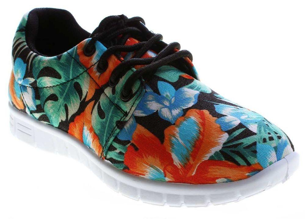 scandi -  »Damen Sneaker Halb Schuhe leicht flexibel bunt« Schnürschuh Leinenschuhe Blumen Muster Bunt