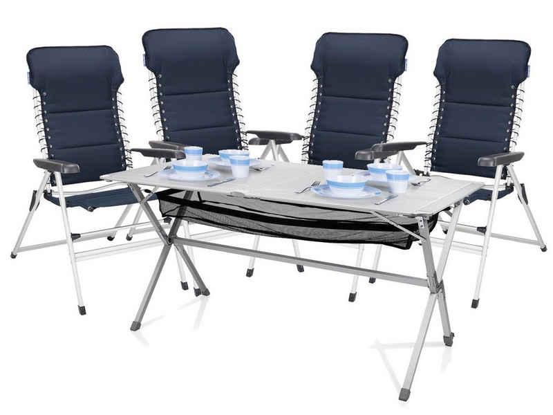Campart Campingstuhl, Campingmöbel-Set mit 4x Hochlehner Klappstuhl und Tisch, Alu Relax-Stuhl XXL für Garten & Balkon, klappbare Outdoor-Stühle 4er Set gepolstert, Gartenstühle Set mit Rolltisch