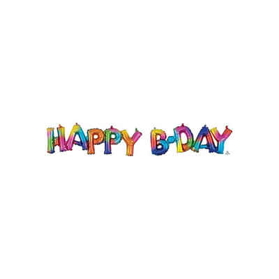 Amscan Folienballon »CI: Phrases Block Phrase Happy Bday Rainbow Splash«
