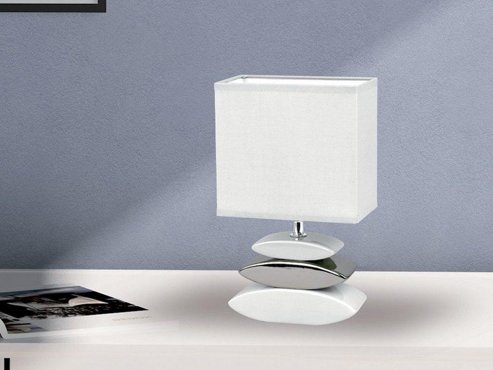LED Tischleuchte mit Keramikfuß Nachttischlampe Tischlampe Stoffschirm weiß