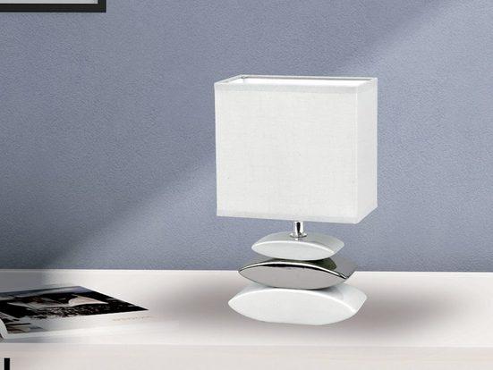 FISCHER & HONSEL LED Tischleuchte, kleine Nacht-Tischlampe mit Lampen-Schirm Stoff, Lampe Tisch Design Landhaus modern, Stofflampe Weiß für Wohnzimmer Schlafzimmer & Fensterbank
