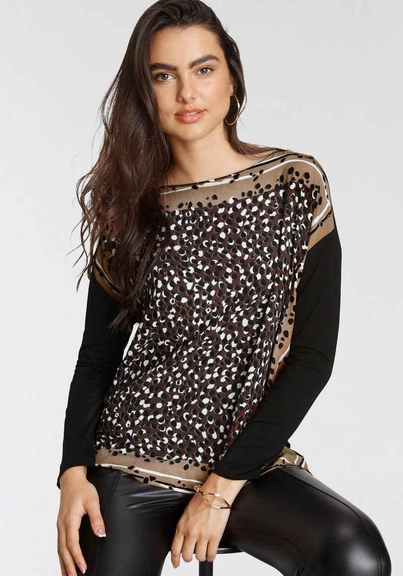 GERRY WEBER Shirtbluse im Materialmix aus EcoVero Viskose