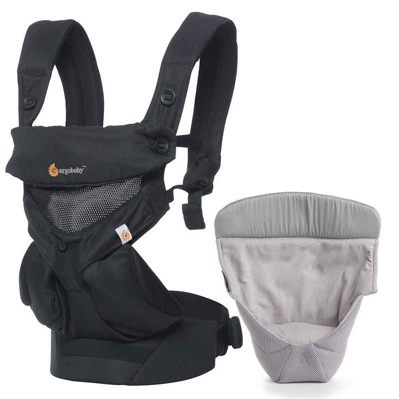 Ergobaby Babytrage »360 Cool Air Mesh - Onyx Black«, Babytragen-Set inkl. Neugeboreneneinsatz Easy Snug Bauchtrage, Rückentrage (4 Tragepositionen)