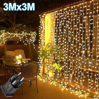 Rosnek LED-Lichtervorhang »3x3M LED Lichternetz Lichterkette Wasserdichte Innen Außen Garten Deko«