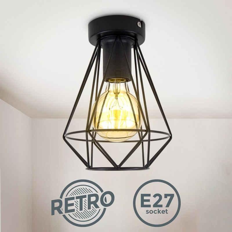 B.K.Licht Deckenleuchte »BKL1396«, Deckenlampe aus Metall, Schwarz, 1-flammig, E27 Fassung, Vintage, 16,5cm Durchmesser, mit Lichteffekt, ohne Leuchtmittel, Wohnzimmer, Schlafzimmer