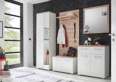 moebel-dich-auf Garderoben-Set »GOMERA«, (Korpus und Front: weiß, Absetzung: Artisan, 5-tlg), 256 x 198 x 38 cm