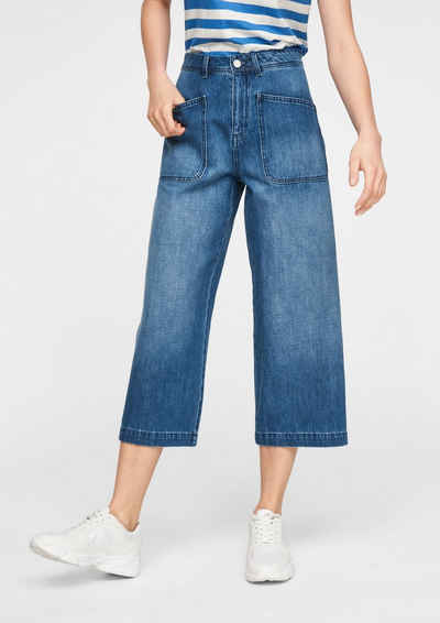 comma casual identity 7/8-Jeans »Regular Fit: Culotte aus Jeans« Waschung, Leder-Patch
