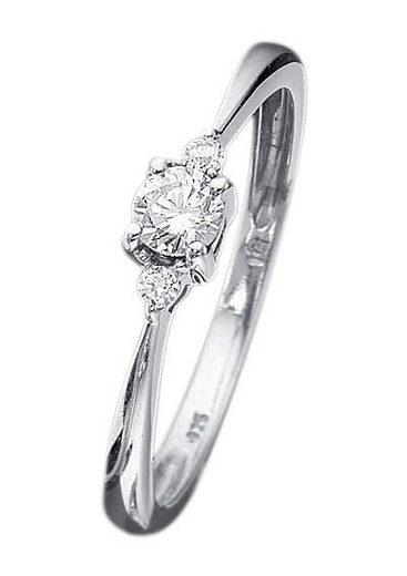 Firetti Verlobungsring »Vorsteckring, Weißgold, Ringkopf Ø 4 mm«, mit Diamanten