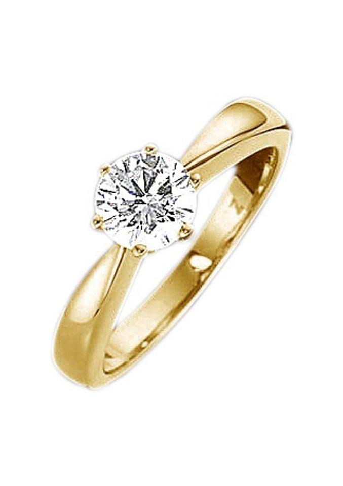 firetti Ring Diamant: Solitaire Verlobungsring / Vorsteckring, Gelbgold in Gelbgold 585