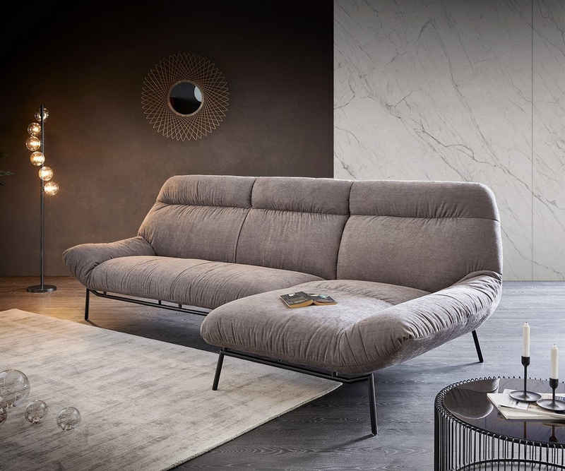 DELIFE Ecksofa »Shape«, High Steingrau 305x160 Longchair rechts Ecksofa by ES brand