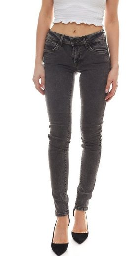 Mavi Regular-fit-Jeans »mavi Jeans Adriana figurbetonte Damen Skinny-Hose mit Used-Waschung knöchelfrei Freizeit-Hose Grau«