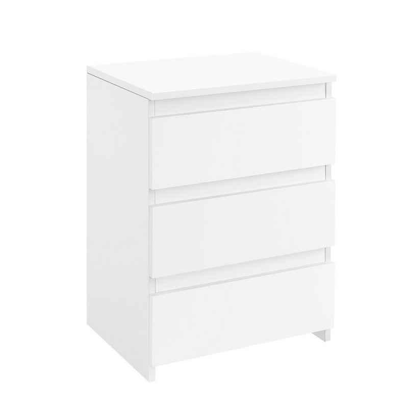 Yaheetech Nachttisch, Nachtschrank für Boxspringbetten Nachtkommode in Weiß, mit 3 Schubladen