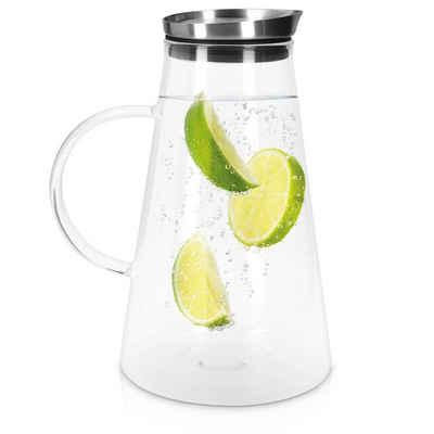 Navaris Karaffe, Glasbehälter aus Borosilikatglas 1,6L Glaskrug - Wasserkaraffe mit Deckel - Wasserflasche Tee Krug Ausgießer