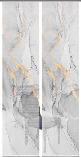 Schiebegardine »MARMOSA 2er SET«, Vision, Paneelwagen (2 Stück), Bambus-Optik, Digital bedruckt