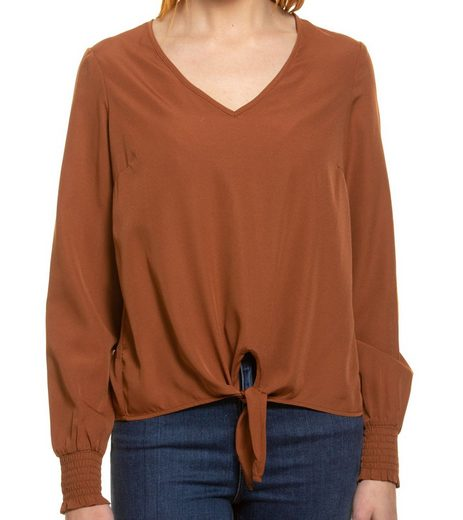 Vero Moda Blusentop »VERO MODA Venice Knoten-Bluse angenehme Damen Langarm-Tunika mit V-Ausschnitt Mode-Shirt Braun«