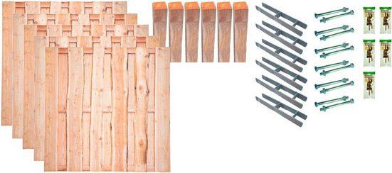 TETZNER & JENTZSCH Set: Bohlenzaun »Lincoln 3«, 5 Elemente, LxH: 954x180 cm