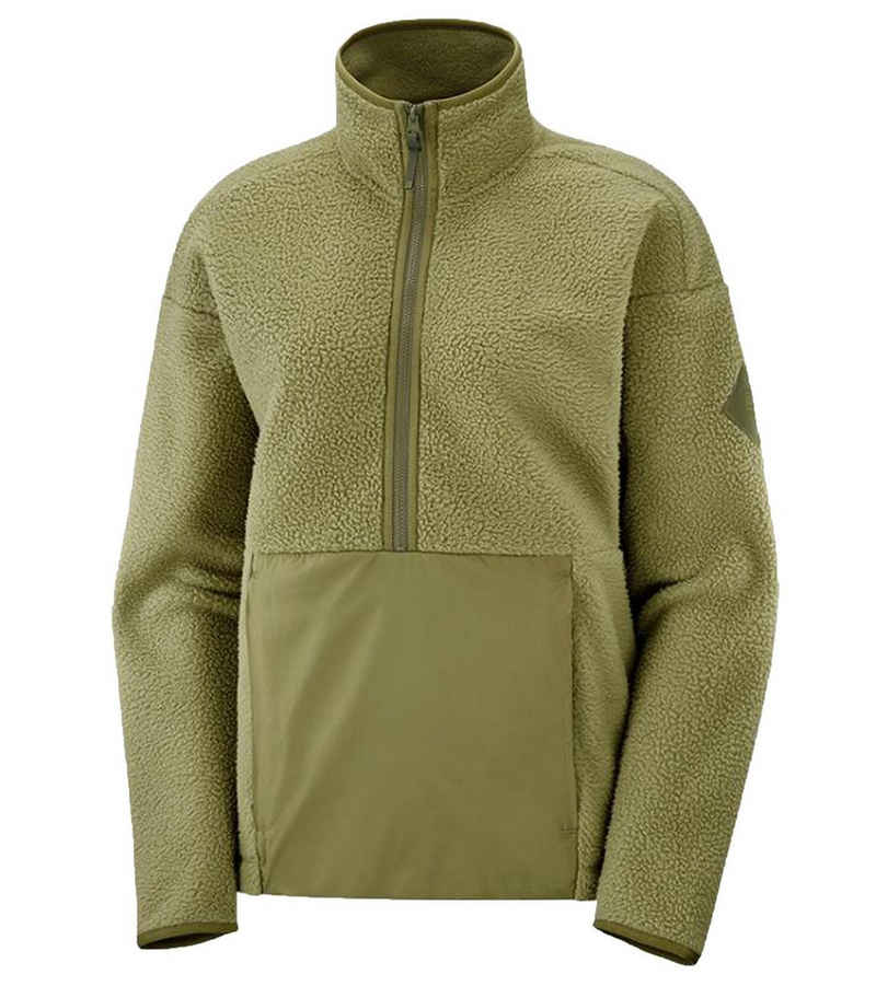 Salomon Fleecejacke »Salomon Snowshelter Teddy Half Zip Fleece-Pullover kuscheliger Damen Pullover Midlayer Grün«