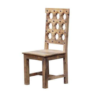 Casa Moro Esszimmerstuhl »Indischer Holzstuhl Bari braun 45x45x102 cm aus Massivholz weiß gekalkt mit handgeschnitzten Rücken & Metallapplikationen, Küchenstuhl & Wohnzimmerstuhl« (1 Stück), CA404045