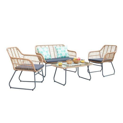 HTI-Line Sitzgruppe »Terrassenmöbel Marsala«, (1x Zweisitzer, 2x Sessel, 1x Tisch, 4-tlg), Terrassenmöbel