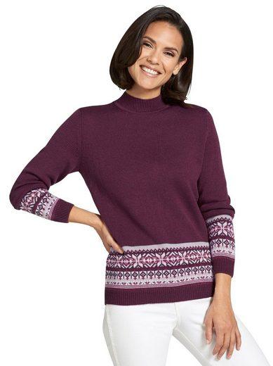 Classic Basics Pullover mit breiter Jacquard-Bordüre