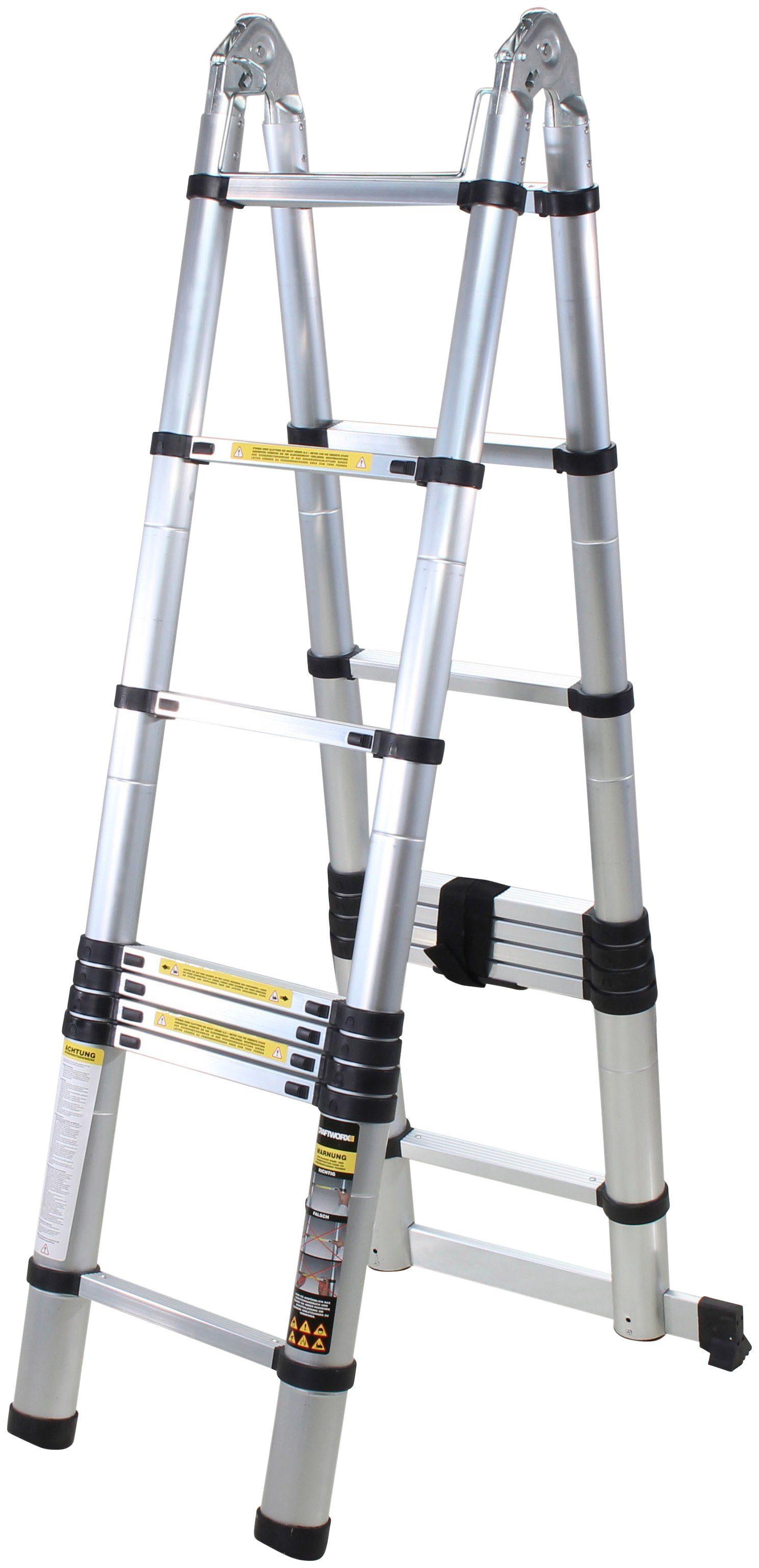 Kraft Werkzeuge Aluminium Teleskopleiter Stehleiter Anlegeleiter 3,3m Leiter